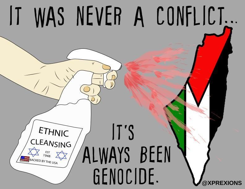 Illustration by Xio. A spray bottle labeled Ethnic Cleansing, Established 1948, Backed by the USA spraying blood on the map of the State of Palestine in the color scheme of the Palestinian flag.